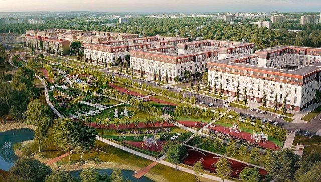 Панорама микрорайона Красногорский