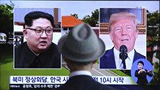 Портреты президента США Дональда Трампа и лидера КНДР Ким Чен Ына