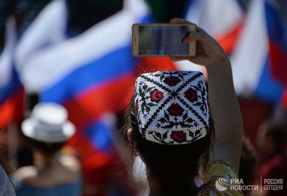 Во время празднования Дня России в Симферополе. 12 июня 2018