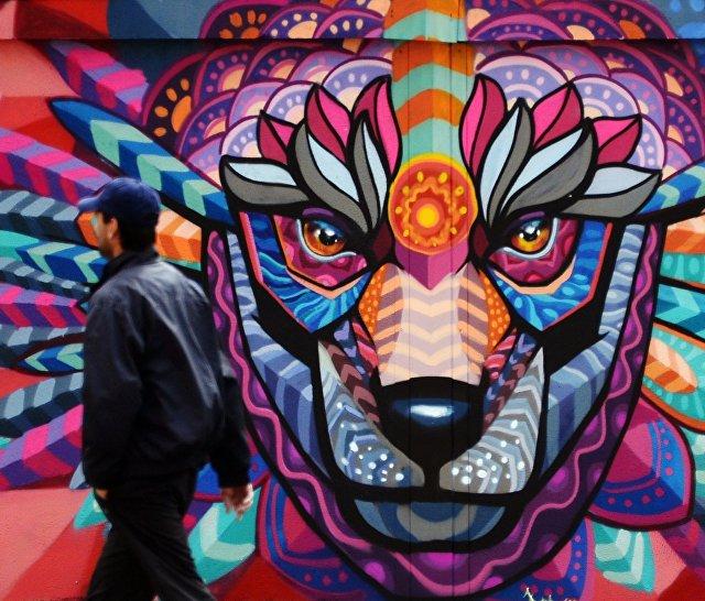 Граффити мексиканского художника Фарида Руэда в рамках арт-проекта Футбольные континенты к ЧМ-2018 по футболу в Москве