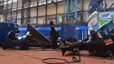 Строительство патрульного корабля проекта 22160 на Зеленодольском судостроительном заводе. Архивное фото