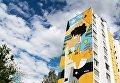 Граффити, посвященное чемпионату мира по футболу ФИФА-2018, на фасаде дома в Самаре