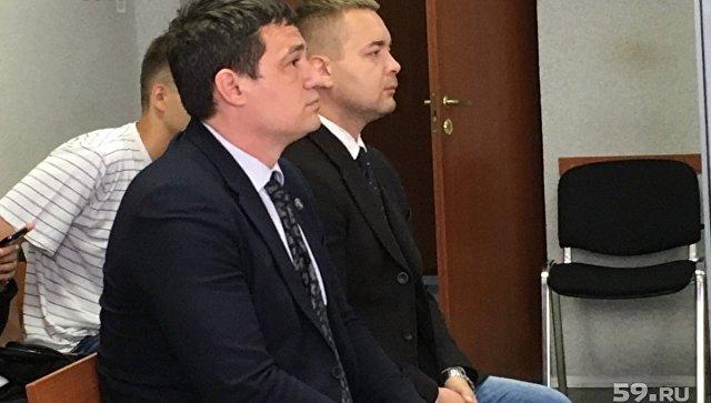 Обвиняемые в избиении DJ Smash экс-депутат заксобрания Пермского края Александр Телепнев и его друг Сергей Ванкевич в суде. 12 июля 2018
