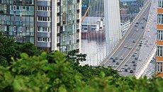 Вид с сопки Орлиное гнездо на вантовый мост через бухту Золотой Рог во Владивостоке. Архивное фото