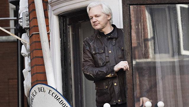 Сооснователь WikiLeaks Джулиан Ассанж на балконе посольства Эквадора в Лондоне. Архивное фото