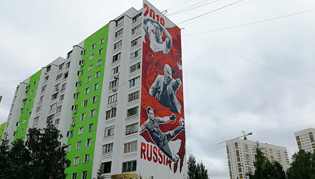 Граффити с Дзюбой, Черчесовым и Акинфеевым в Самаре
