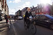Велосипедисты на одной из улиц Копенгагена