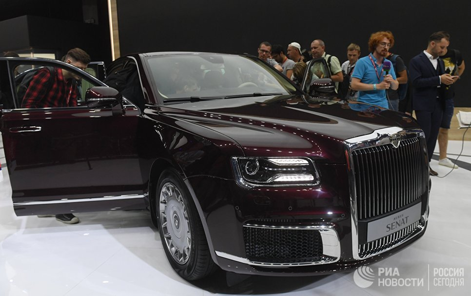 Журналисты на презентации автомобиля Aurus Senat на Московском международном автомобильном салоне 2018