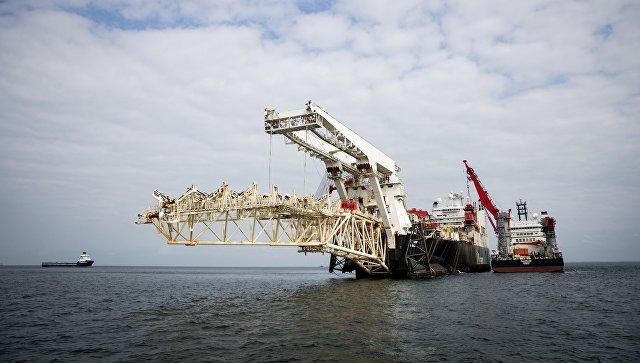 Трубоукладочное судно Solitaire готовится к началу работ по укладке газопровода Северный Поток - 2 в Балтийском море. Архивное фото