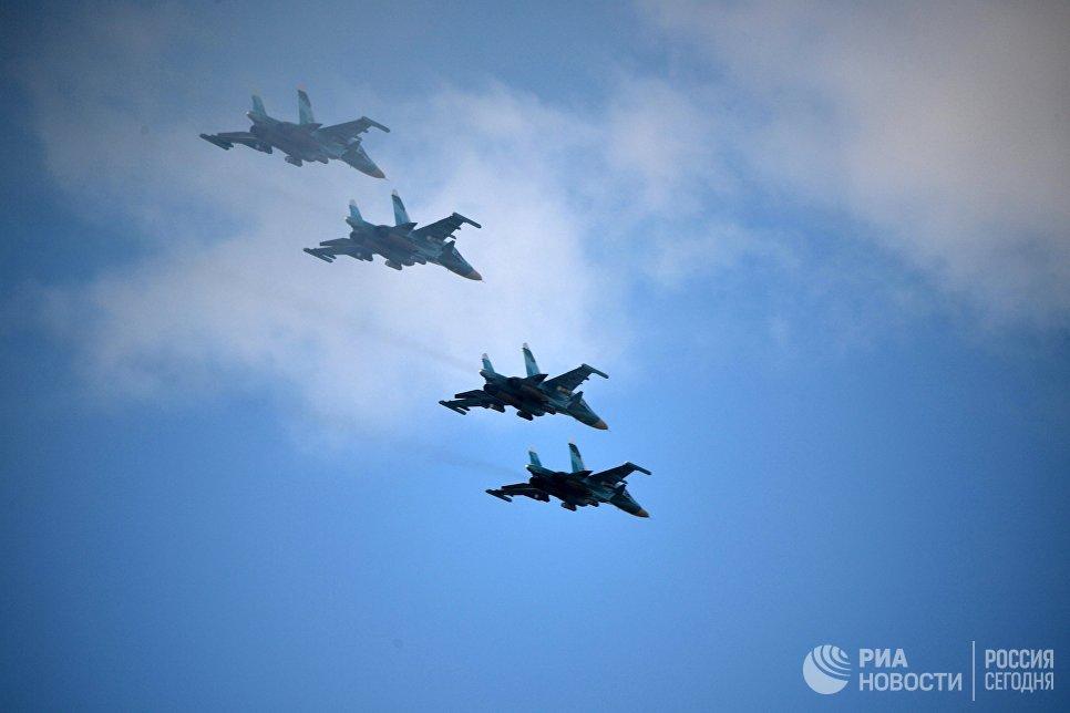 Истребители во время основного этапа военных маневров вооруженных сил Восток-2018 на полигоне Цугол в Забайкальском крае