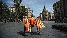 Участники акции сторонников независимости Каталонии в Барселоне. Архивное фото