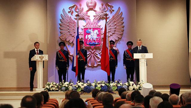 Врио главы Воронежской области Александр Гусев во время церемонии инаугурации. 15 сентября 2018