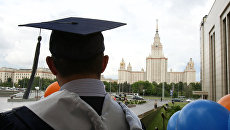 Перед началом торжественной церемонии вручения дипломов выпускникам Высшей школы бизнеса Московского государственного университета имени М.В. Ломоносова