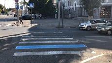 Закрашенная синей краской дорожная разметка в центре Саратова