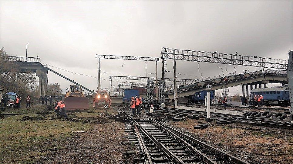Обрушение моста на ж/д пути в Амурской области