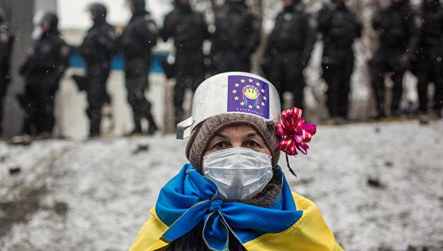 Участница протестных митингов за евроинтеграцию Украины в Киеве. Архивное фото
