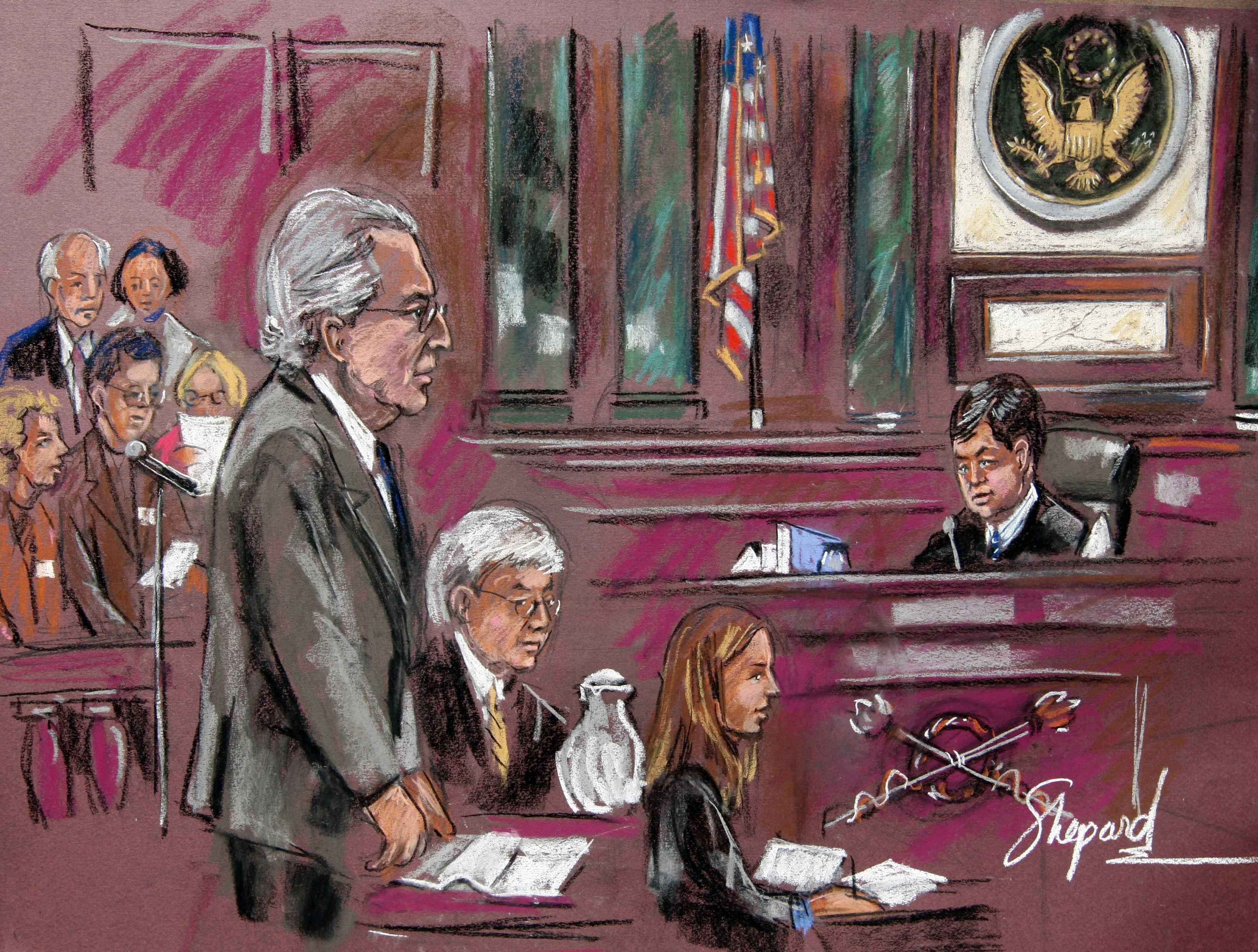 Создатель финансовой пирамиды века Бернард Мэдофф в суде Нью-Йорка