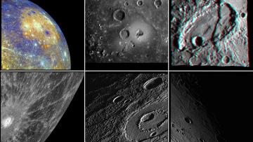 Фотографии поверхности Меркурия с борта зонда «Мессенджер»