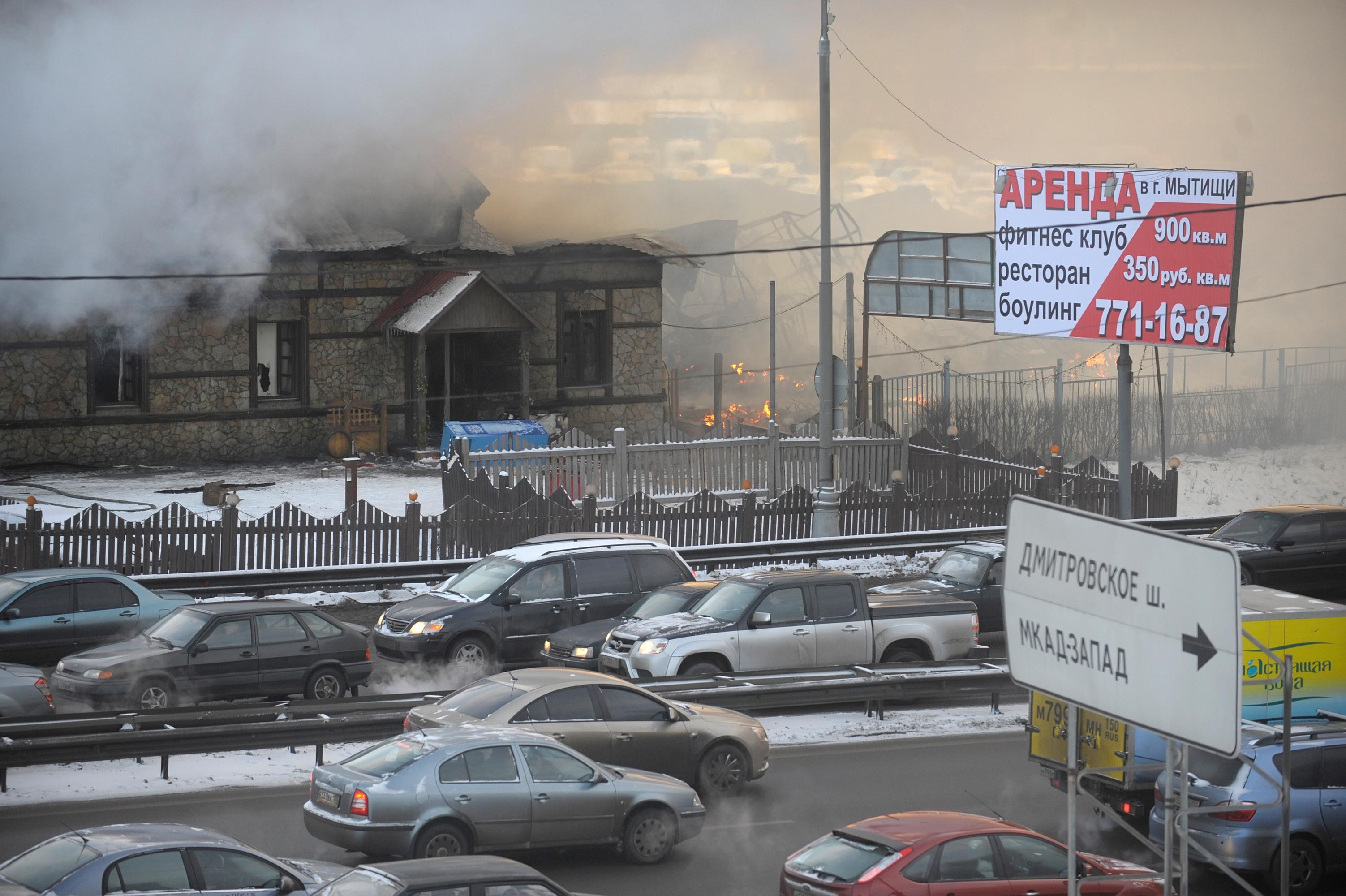 Пожар на рынке Пирогово в Подмосковье