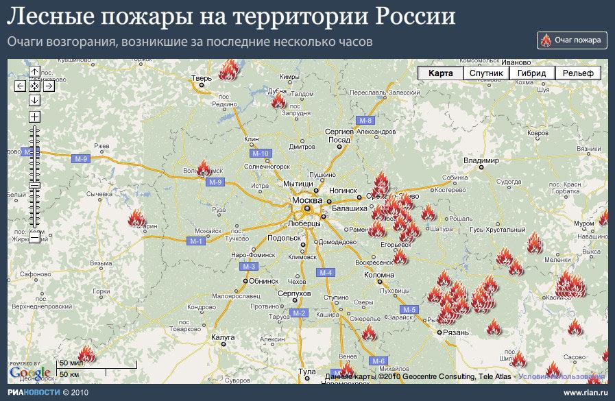 Инфографика Пожары в России