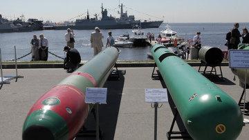 Универсальная электрическая телеуправляемая самонаводящаяся торпеда ТЭ-2 (слева) и Подводное самотранспортирующее средстиво доставки водолазов Сирена - УМЭ (справа). Архивное фото