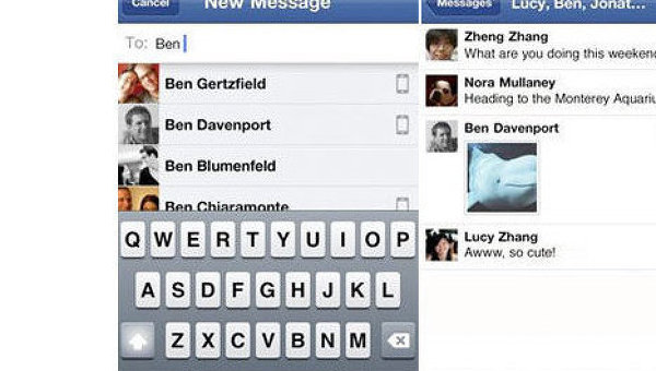 Социальная сеть Facebook запускает мобильное приложение для iPhone и Android-смартфонов, позволяющее обмениваться мгновенными сообщениям