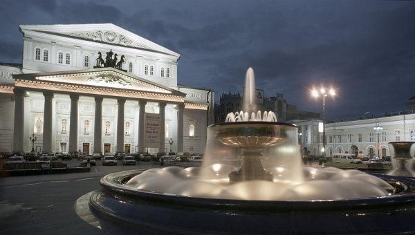Фонтан на Театральной площади в Москве. Архив