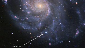 Нобелевская сверхновая в галактике Вертушка (М101), вспыхнувшая на ночном небе в конце августа 2011 года