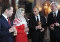 Д.Медведев и В.Путин в храме Христа Спасителя в Москве