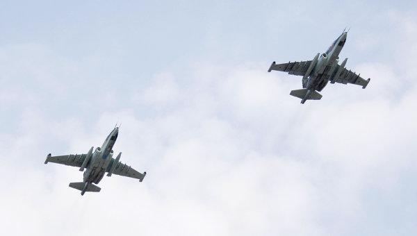 Группа штурмовиков Су-25СМ. Архивное фото
