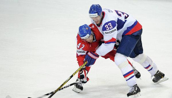 Игровой момент матча Чехия - Словакия