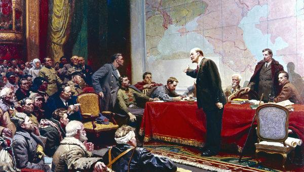 Репродукция картины Л. А. Шматько Выступление В. И. Ленина о плане ГОЭЛРО