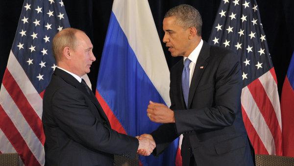 Президент РФ В.Путин  с президентом США Б.Обамой. Архивное фото