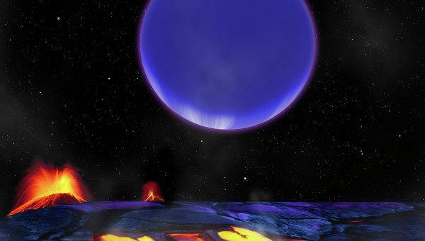 Примерно так выглядит восход горячего нептуна Kepler-36c при взгляде с поверхности суперземли Kepler-36b