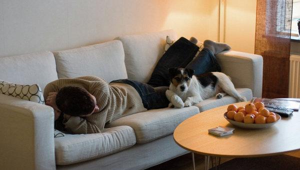 Отдых на диване. Архивное фото