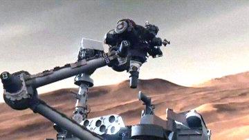 Марсоход Curiosity опустился на Красную планету на небесном кране