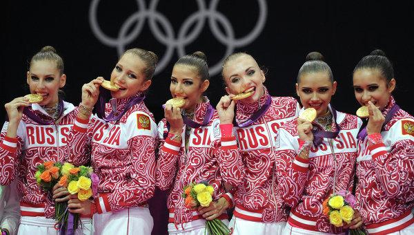 Олимпиада Соревнования и результаты РИА Новости Российские гимнастки завоевавшие золотые медали в групповых соревнованиях по художественной гимнастике