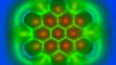 Фрагмент графена при взгляде через атомно-силовой микроскоп
