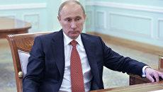 Встреча В. Путина и Д. Медведева в Кремле