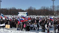 Танцами согревались на митингах в поддержку Путина в городах России