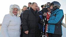 Незрячие горнолыжники показали Путину, как вслепую преодолеть трассу