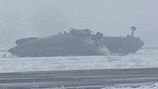 Жесткая посадка Ту-134 в Киргизии. Видео с места ЧП