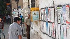 Жительница Туниса изучает списки кандидатов на выборах в Национальный учредительный совет