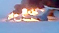 Очевидец снял горящий Ту-154 в аэропорту Сургута до приезда пожарных