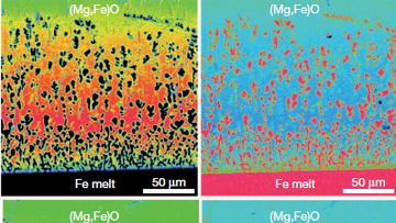 Вкрапления железных пузырей в модели мантии Земли. Иллюстрация авторов статьи