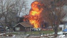 Жилой дом горит в городе Уэбстер в округе Монро