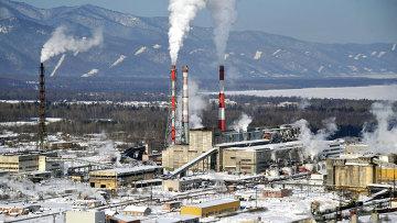 Вид на Байкальский целлюлозно-бумажный комбинат (БЦБК) в Иркутской области, архивное фото