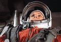 """Летчик-космонавт Ю.Гагарин в кабине космического корабля """"Восток"""""""