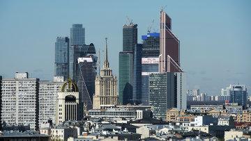 Вид с гостиницы Москва на Московский международный деловой центр (ММДЦ) Москва-Сити.