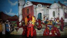 """Участник """"Танцев дьяволов"""" во время праздника Тела и Крови Христовых в Венесуэле"""
